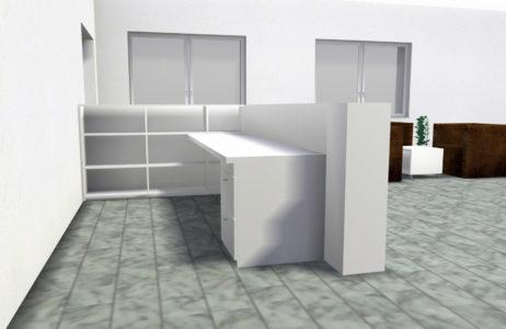 3D Entwurf für Empfangstheke Duma Bandzink